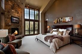 bedroom accent lighting with beige wall and brown armchair with