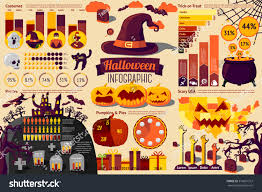 set halloween infographic elements icons different stock vector
