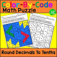 rounding decimals to tenths color by code math puzzle by growing