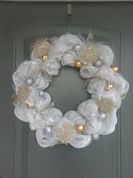 White Deco Mesh Winter Wreath Silver And Gold With White Deco Mesh Wreath Crazy