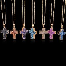 necklace pendant wholesale images Wholesale drusy pendant necklaces christian cross natural stone jpg