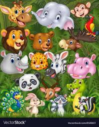 safari cartoon cartoon safari animals with forest background vector image