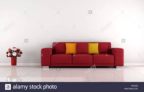 minimalist living room with red sofa and white wall 3d rendering
