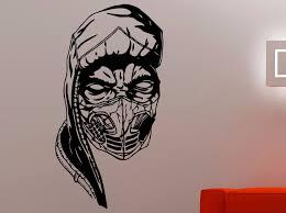 aliexpress com buy scorpion face wall decal mortal kombat vinyl