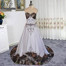 camo wedding dresses strapless embroider chocolate lace crystals a line white satin