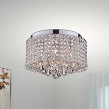 Crystal Drum Shade Chandelier Nerisa 4 Light Chrome And Crystal Drum Shade Flush Mount