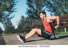 Model Bench Fitness Man Doing Bench Triceps Dips Stock Photo 455552809