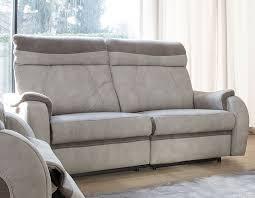 canapé relax 3 places tissu canapé 3 places relax électrique en tissu beige et taupe therese
