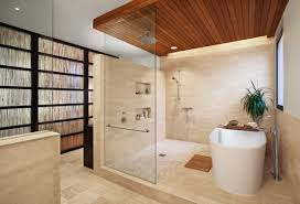 top best wooden ceiling design ideas small shower design with the glass partition zoning tile pedestal and wooden trimming