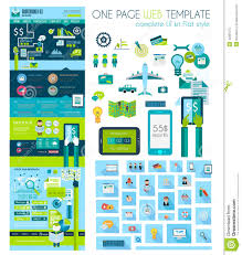 one page website flat ui design template stock vector image