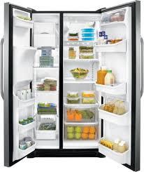 frigidaire glass door fridge frigidaire ffss2614q 36 inch side by side refrigerator with
