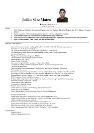 Fresher Electrical Engineer Resume Sample by Cv Julian Saez