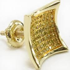 back earrings for men 14k yellow gold canary diamond inner dome kite earrings back