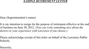 download retirement letter sample for free formtemplate