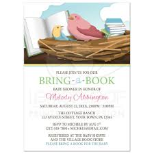baby shower invitations bird nest bring a book