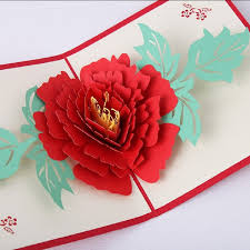 high end 3d stereoscopic greeting cards peony flowers s day