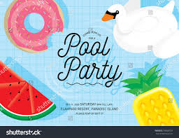 Party Invitation Cards Templates Floats Summer Pool Party Invitation Card Stock Vector 706688737