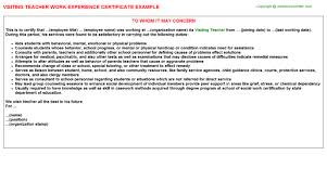 Caseworker Job Description For Resume by Visiting Teacher Work Experience Certificate