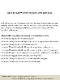 Scm Resume Format Sample Security Consultant Resume Top 8 Security Consultant