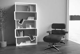 Modern White Bookcases by Black Wooden Leaning Ladder Books Shelves Placed On The Gray Wall