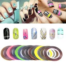 30pcs colorful rolls nail tips tape line striping water decal nail