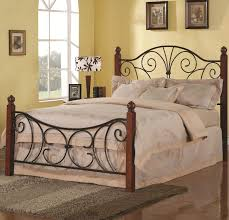 Iron Bed Set Black Iron Carving Bed With Headboard And Four Brown Wood Legs
