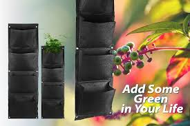 tripleclicks com vertical wall mounted polyester indoor wall planter