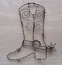 Barbed Wire Home Decor Rusty Barbed Wire Cowboy Boot Rustic Western Art Farm Ranch Home