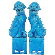 turquoise foo dogs for sale of regency 1950s turquoise foo dogs at 1stdibs