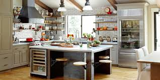kitchen island country kitchen room warm kitchen with exposed gray brick wall and