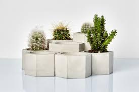 set of 7 tier hexagonal planters geometric concrete