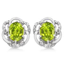peridot stud earrings oval green peridot diamond stud earrings 14k white gold 3 05ct