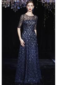 prom dresses online dark blue round neck half sleeve embroidery