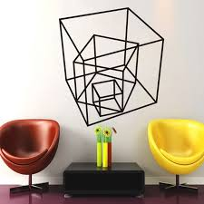 home decor free shipping cube living room art wall decal geometric square cube modern sticker
