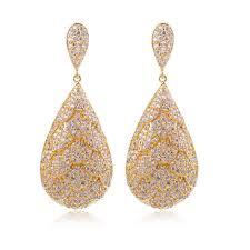 gold earrings for wedding aliexpress buy earrings for women cubic zircon luxury drop