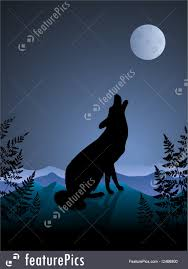 wolf howling at the moon illustration