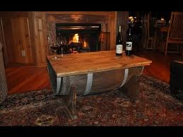 whiskey barrel side table how to build a whiskey barrel coffee table youtube
