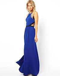 asos mango cut out maxi dress in blue lyst