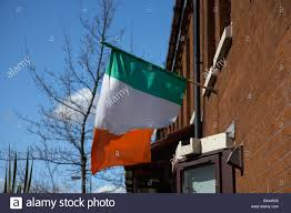 White Blue Orange Flag Irish Tricolour Green White And Orange Flag Flying From A House In
