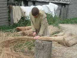 plymouth pilgrim cutting thatch for roof picture of