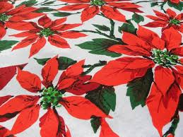 vintage bright and colorful poinsettia tablecloth the