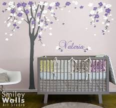 Tree Nursery Wall Decal Cherry Blossom Baby Nursery Wall Decals Tree Purple White Flowers