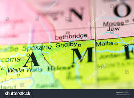 Montana On A Map by Closeup Of Shelby Montana On A Political Map Of Usa Stock Photo