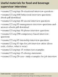Sales Supervisor Job Description Resume by Top 8 Food And Beverage Supervisor Resume Samples