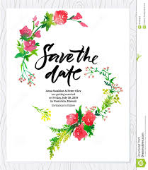 save the date template wedding floral watercolor card save the date stock vector image