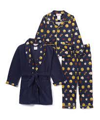 emoji robe navy emoji pajama set boys zulily