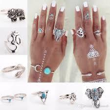 midi ring set retro elephants triangle shape midi ring set for women vintage