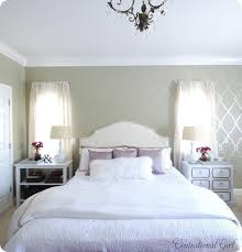colors light grey walls cream headboard white and purple