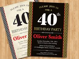 40th birthday invitation for men black vintage or any color