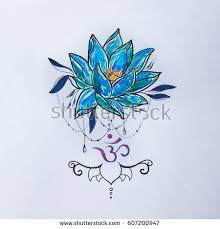 sketch lotus om signs on white stock illustration 561809869